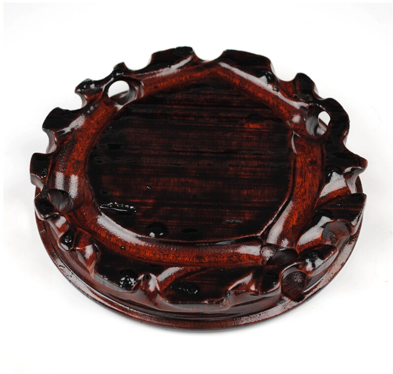 Delicate Chinese Style Solid Wood Rotary Vase Base In Swivel Plates