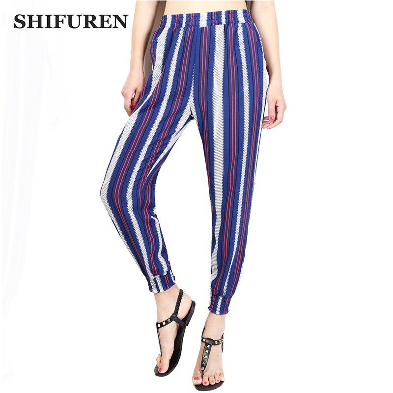 SHIFUREN Store SHIFUREN Fashion 2017 Women Printed Chiffon Harem Pants Loose Elastic Waist Breathable Causal Trousers Ankle-Length Plus Size