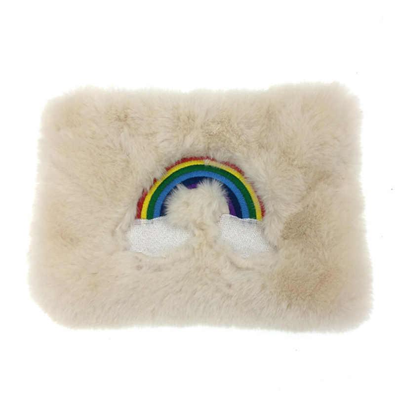 Радужные сумки-мессенджеры с вышитым кроликом и помпонами для девочек, мягкий кошелек на молнии, милые сумки, сумки на плечо для женщин