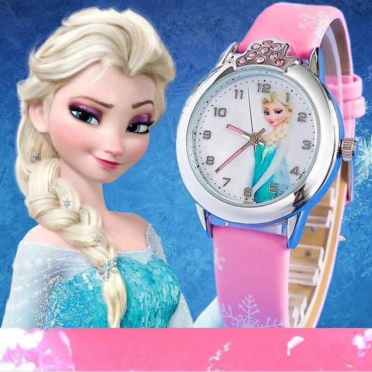 New Relojes Cartoon Children Watch Fashion Cute Princess Watches For Kids Student Leather Quartz Watch Girl Relogio Feminino