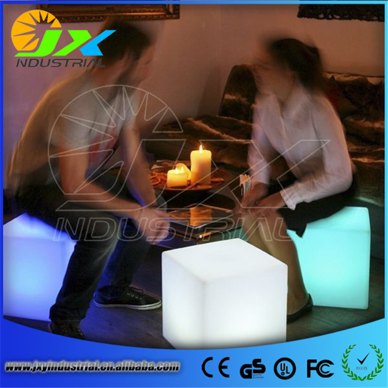 Free shipping led illuminated furniture,waterproof 40*40*40CM led cube chair bar stool,led seat rechargeable decorated Christmas free shipping 40 40 40cm rechargeable wireless remote led inductive charging cube chair bar cube chair