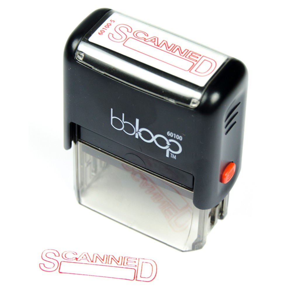 Bbloop Stamp SCANNED Self-Inking RED Solid Color, Laser-Engraved Stamping Rubber, Office Stamp 10 digit 9 wheels gray light blue rubber band self inking numbering stamp
