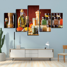 Pictures 5 Panels Wall Art Condiment bottle Painting on Canvas Home Decorkitchen spices Giclee Artwork Popular  For Living Room