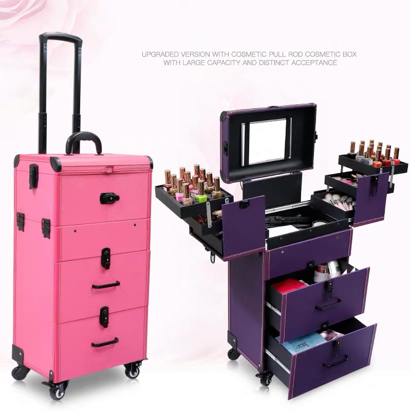 Women multi layer trolley cosmetic case new rolling luggage large trolley makeup box beauty tattoo manicure