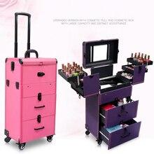 c7630ae9e Las mujeres multi-capa de cosméticos caso equipaje rodante trolley grande  caja de maquillaje belleza