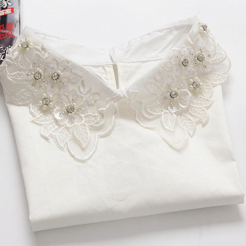 2017 Új listázás Egyszínű póló Hamis gallér fehér Vintage - Női ruházat