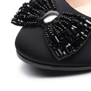 Image 5 - Women Ballet Bow Shoes Black Women Wedges Shoes For Office Work Boat Shoes Cloth Sweet Loafers Womens Pregnant Wedges Shoes