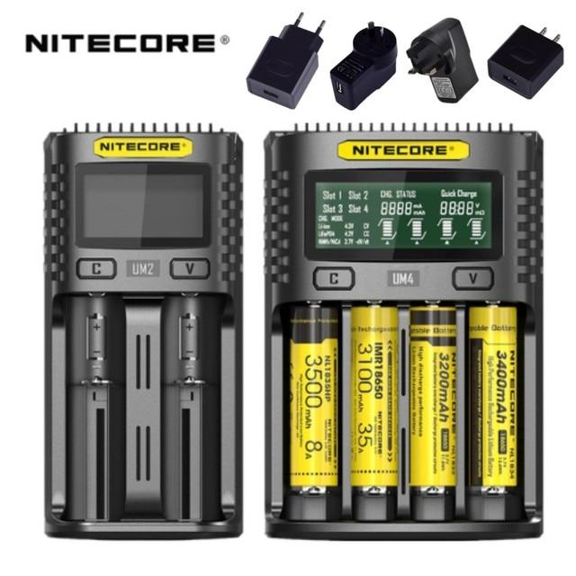 NITECORE UM2 UM4 Tự Động Phổ Sạc Nhanh Thông Minh USB Dual-Khe Cắm Bộ Sạc LCD Hiển Thị Li-Ion IMR Pin 18650 21700