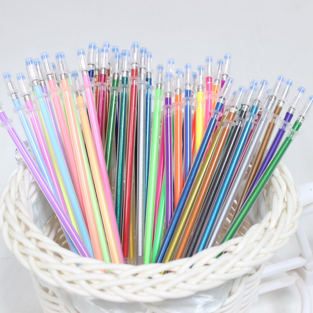 48 Colors Gel Ink Pen refills Rollerball Refill Pastel Neon Glitter Sketch Drawing Markers Marker Manga Aquarela Capinhas touchnew 60 colors artist dual head sketch markers for manga marker school drawing marker pen design supplies 5type