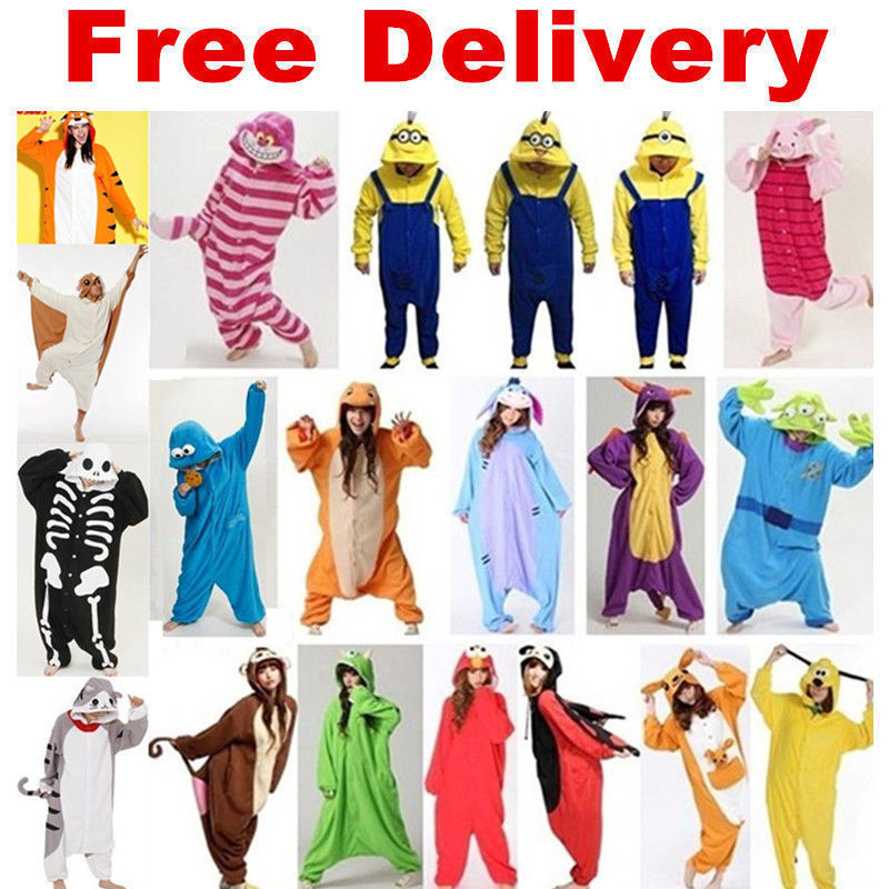 Winter Unisex Adult Pajamas Cosplay Costume Animal Onesie Sleepwear  Elephant Totoro Panda Kangaroo dinosaur Bat 4ba4678b8