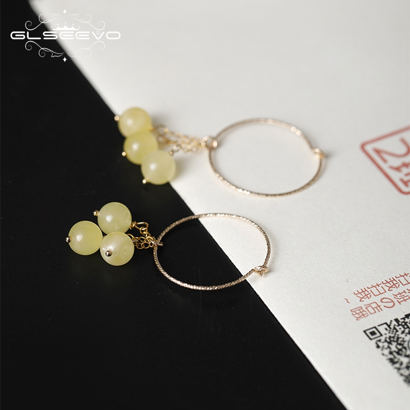 GLSEEVO 14k Gold Plated Hoop Earrings For Women Boutique Fashion Natural Ceromel Earrings Female Handmade Fine Jewelry GE0432 pair of gold plated polished big hoop earrings