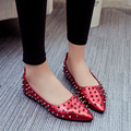 The autumn of 2016 the new European and American fashion rivet pointed flat shoes shallow mouth big-name Liuding with single sho