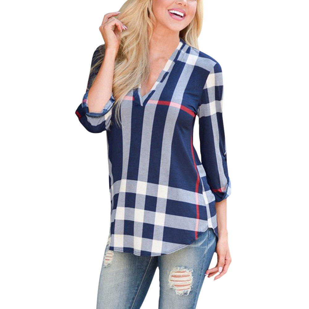 2017 autumn fashion ladies top v neck tops tee plaid women. Black Bedroom Furniture Sets. Home Design Ideas