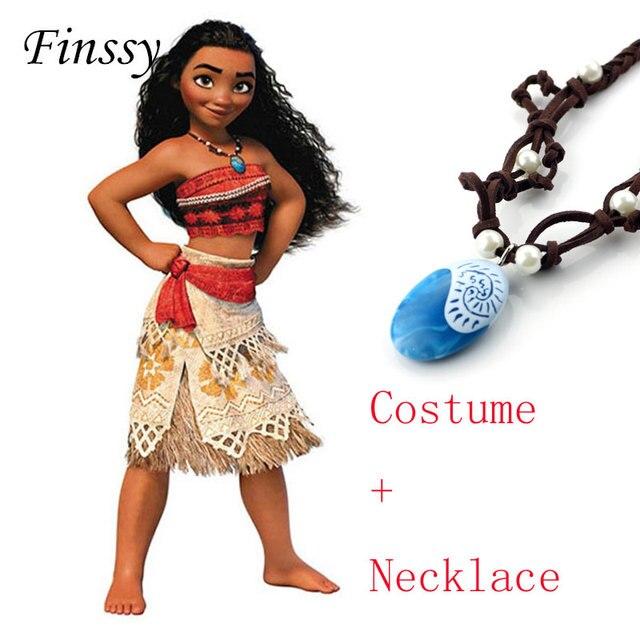 Moana Cosplay Traje da princesa para As Crianças Traje Moana com Colar para Mulheres Adultas Trajes de Halloween para Crianças Meninas Presente