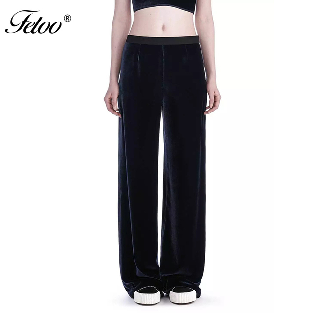 New 2017 Fashion Velvet Wide Leg Pants Women Loose Trousers Casual Streetwear Full Length Elegant Trousers for Women Female P45
