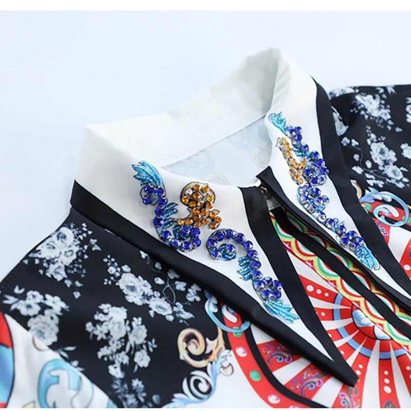 Luxueux Diamant Tenue Robes Marque Baroque Fête Printinging Seifrmann Automne De Mi Femmes longues 2018 n7w86R