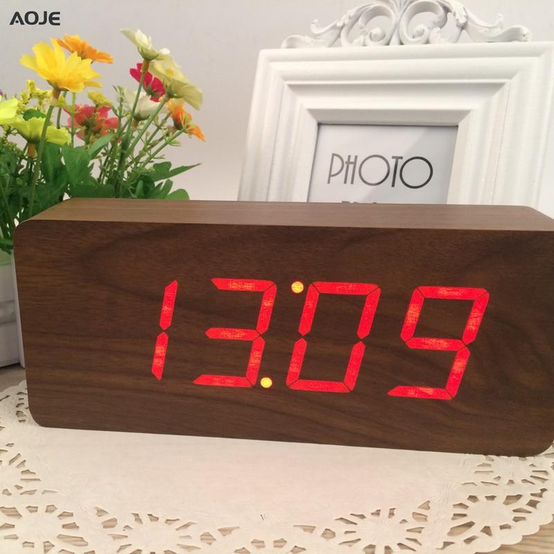 Cube clock Best Large wooden clock LED Digital Wooden Alarm Clock Despertador Sound Control Electronic wood