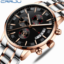 2019 New Fashion CRRJU Top Brand Luxury Watches Men Business Casual Stainless St