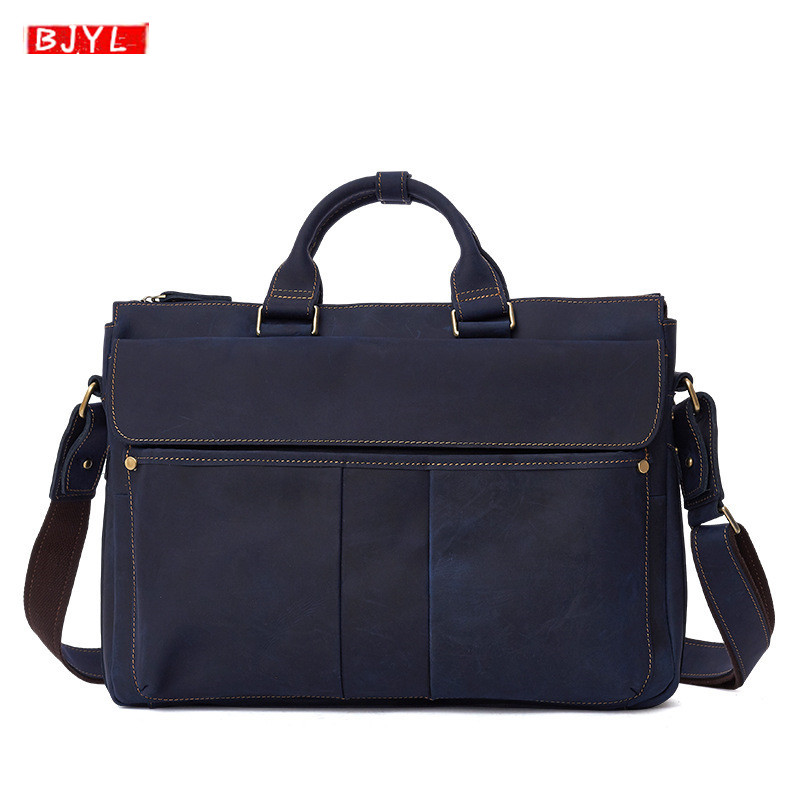 2019 Genuine Leather Men's Handbags Business Laptop Briefcase Retro Crazy Horse Leather Male Crossbody Bags Travel Shoulder Bags