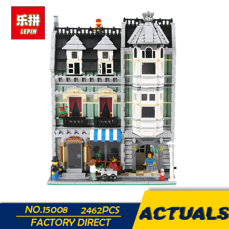 LEPIN 15008 15008B 2462Pcs City Street Green Grocer Model Building Kits Blocks Bricks Compatible Educational toys 10185 dhl lepin15008 2462pcs city street green grocer model building kits blocks bricks compatible educational toy 10185 children gift