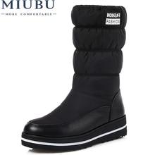 MIUBU Plus Size 35-44 New Snow Boots Women Warm Cotton Down Shoes Waterproof Fur Platform Mid Calf Black