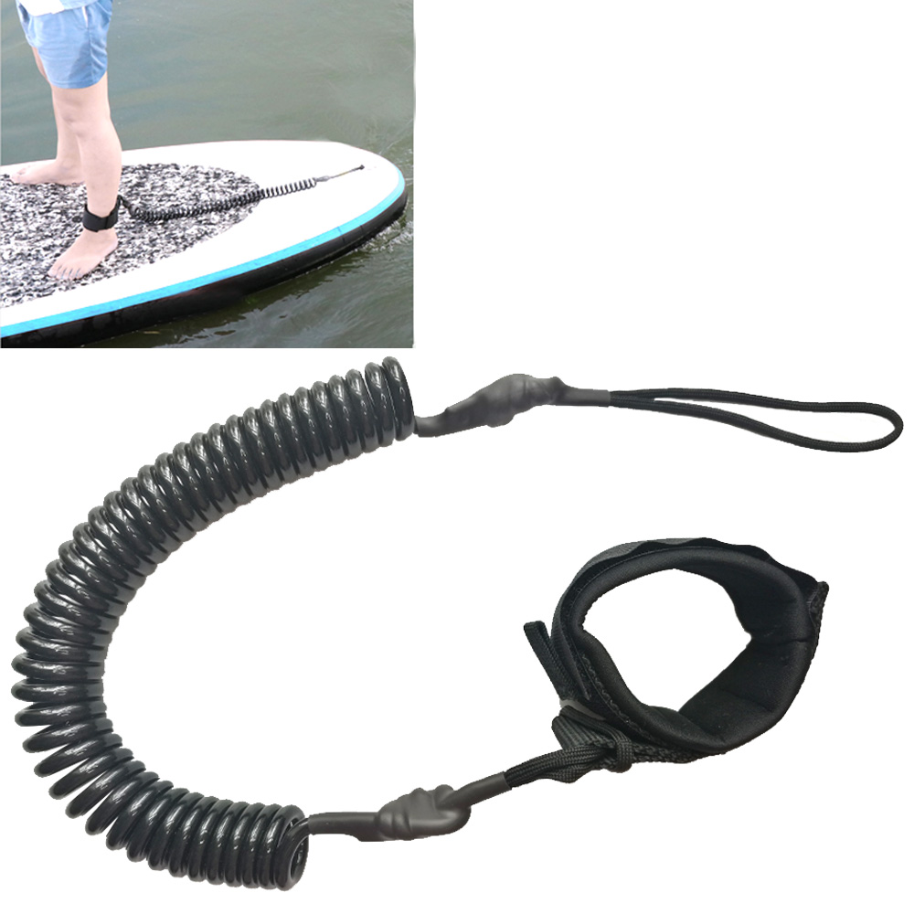 10FT Coiled Surfboard Leash Surfing Stand Up Paddle Board Surf Paddle Board SUP Cord Leash image