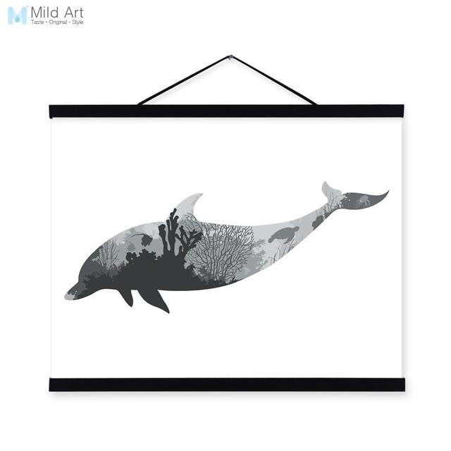 golfinho preto branco silhueta minimalista nordic animais do mar