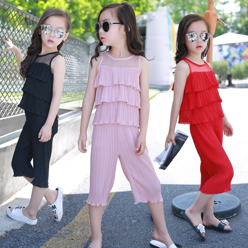 Children New Summer Suit Girls Sleeveless Chiffon Korean Hot Sale Wide Leg Pants Two Pieces Kids Clothing Sets Red Black Pink