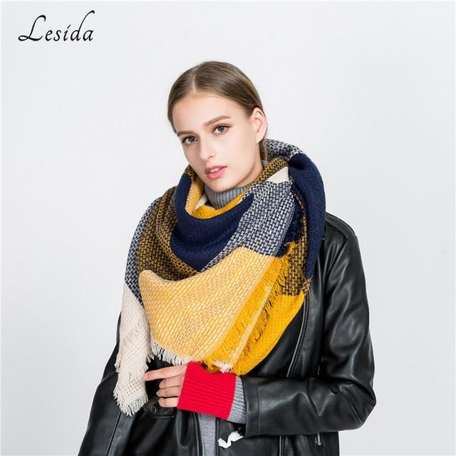 4eea7d87acd8f LESIDA Luxury Brand Women Winter Thick Warm Scarf Plaid Stitching Shawl  Cashmere Pashmina Blanket Scarves Wraps 140*135CM 3429
