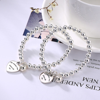 light bead, silver bead, simple and versatile, fashionable personality, female bracelet, hand chain jewelry wholesale.