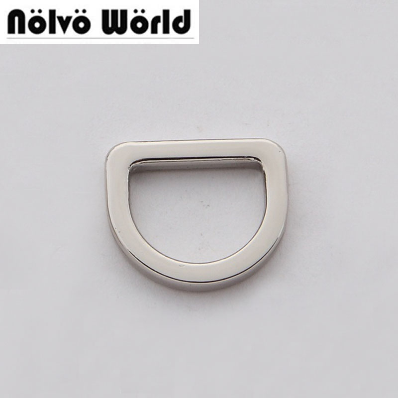 Square edge inside 13mm 1/2 inch Polished silver color Closed d ring,alloy metal d-ring,100PCS