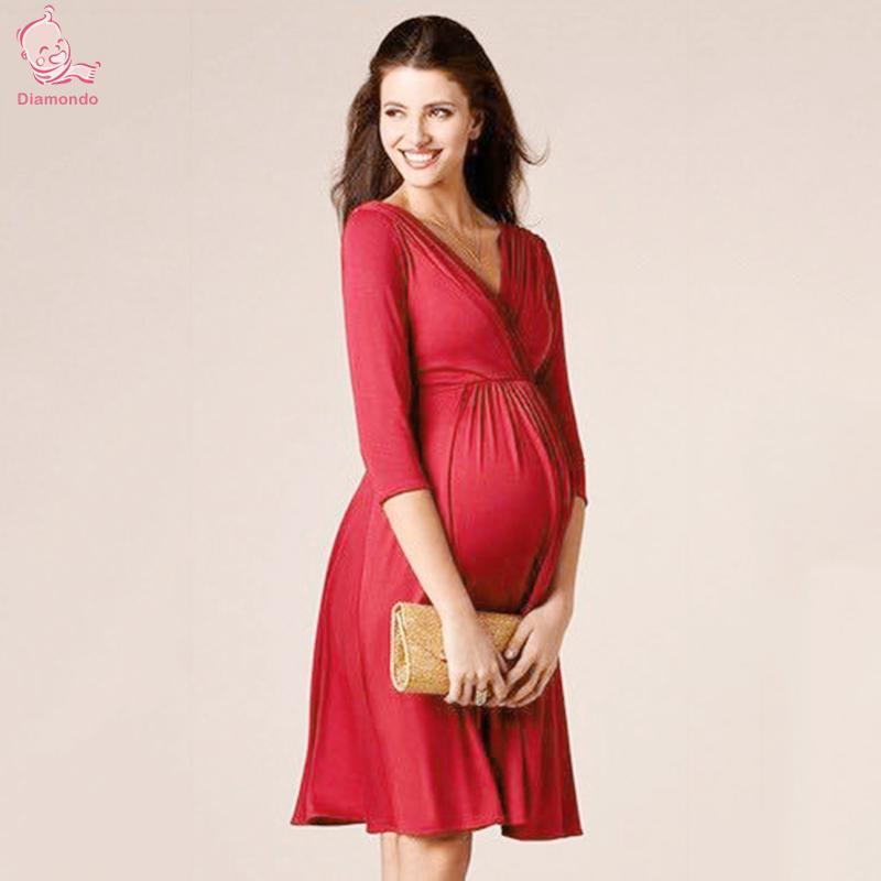 Fashion Maternity Dresses Clothes For Pregnant Women Clothing V-neck 3/4 Sleeve Slim Soft Silk Cotton Pregnancy Dress Wear