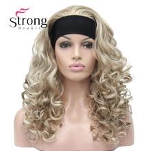 سترونجبيوتي طويل شقراء يبرز مجعد الحرارة موافق الاصطناعية عقال شعر مستعار