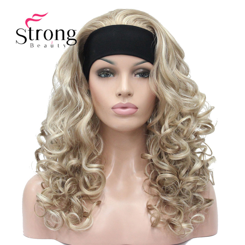 StrongBeauty Long Blonde Highlights Curly Heat Ok Synthetic HEADBAND Wig