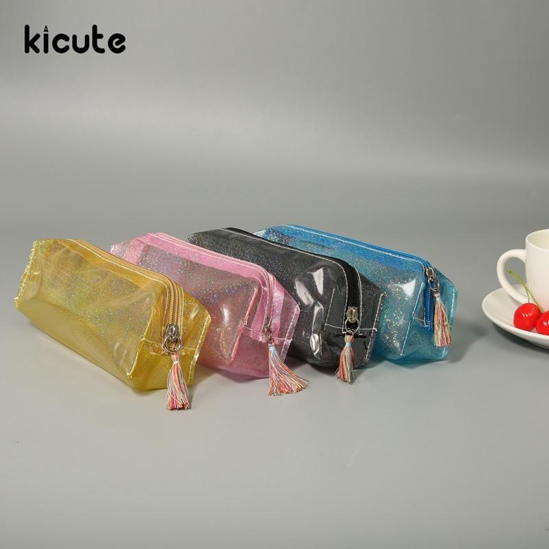 Kicute прозрачные точки Блеск Блестящий пенал канцелярские сумки мода ПВХ сумки карандаш школьный пенал принадлежности Студент Подарок