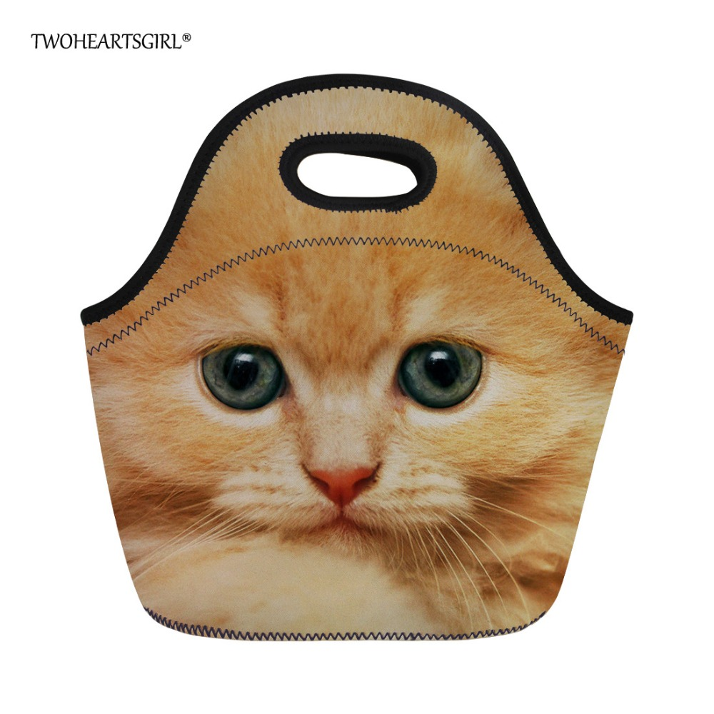 Twoheartsgirl Unique 3d Animal Cat Print Lunch Bag Neoprene Tote Lunch Box for Women Kids Thermal Female Ladies Dinner Food Bags