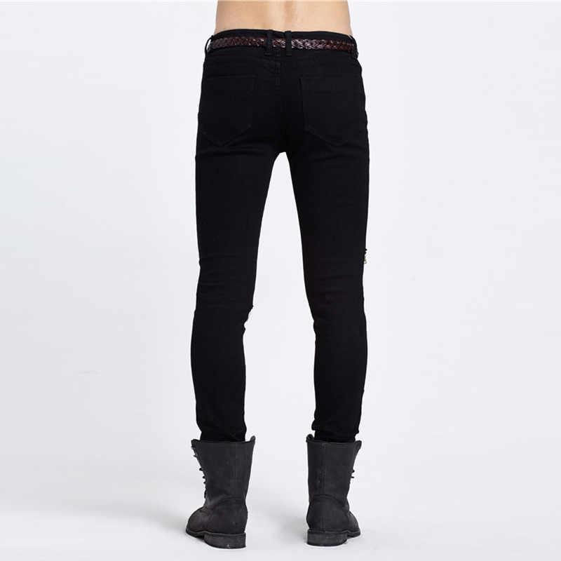 Новые модные брендовые винтажные мужские дизайнерские джинсы повседневные рваные дизайнерские джинсы модные обтягивающие черные джинсовые узкие брюки подходят для мужчин