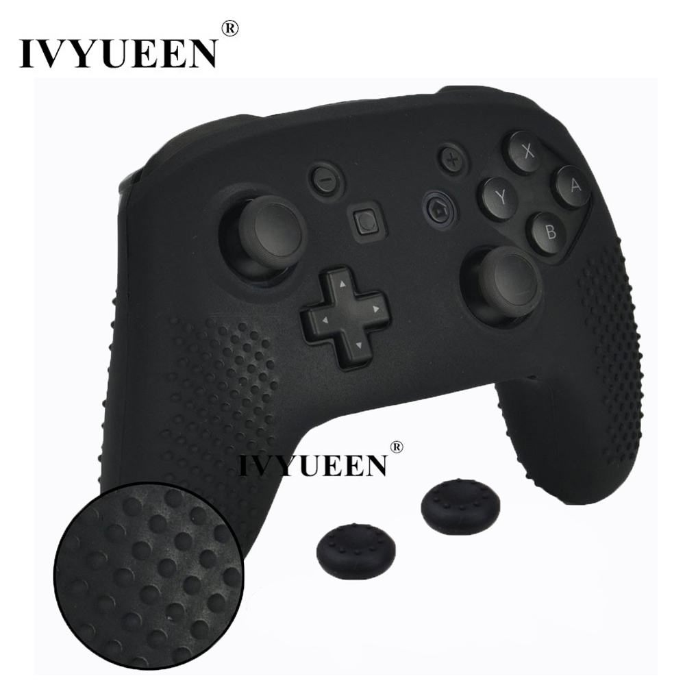 IVYUEEN Studded Anti-slip Silicone Skin Cover For Nintend Switch NS Pro Controller Protective Case With 2 Analog Stick Caps Grip