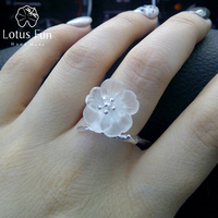 Lotus Fun Real 925 Sterling Silver Natural Handmade Fine Jewelry Flower In The Rain Ring Open
