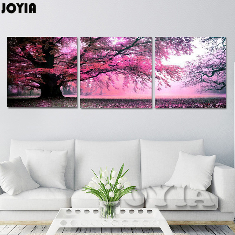 Trees Art Canvas Wall Decor Purple Big Tree Paintings Modern Canvas Prints Pictures For Bedroom Room