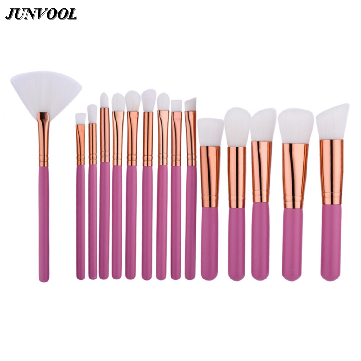 Pink Makeup Brushes Set 15PCS Professional Make Up Beauty Blush Foundation Contour Powder EyeShadow Cosmetic Fan Brush Rose Gold 15pcs set white rose gold professional cosmetic makeup brushes set make up brush tools kit eye liner eyeshadow brush kits