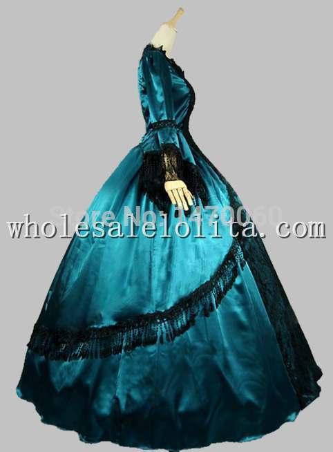 18e Dentelle Bleu Verdâtre Antoinette Satin De Noir Robe Bal Marie Superposition Siècle Hn1BR