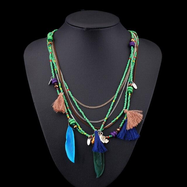 Фото ожерелья naomy & zp в богемном стиле с разноцветными перьями