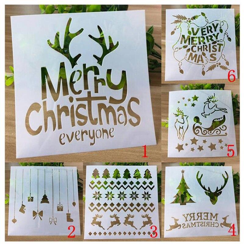 6pc Christmas Stencils Templates Deer Decor DIY Graphics Painting Scrapbooking Stamp Ornament Album Embossed Template Reusable