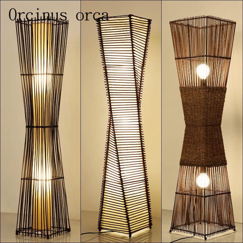 Southeast simple Chinese floor lamp hotel room modern bedroom lamp creative bamboo floor lamp free shipping стоимость