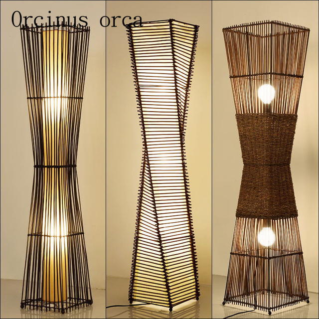 Southeast Simple Chinese Floor Lamp Hotel Room Modern Bedroom Creative Bamboo Free Shipping