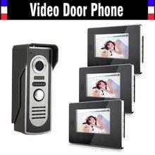 7″ LCD Monitor video door phone intercom doorbell doorphone 3 monitor 1 Door Camera Alloy panel