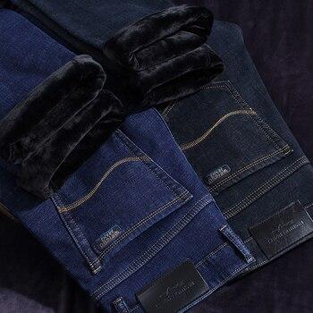 Jeans d'hiver hommes chaud hommes noir classique Jean Homme Vaqueros plafones Hombre pantalon Spijkerbroeken Slim droit Designer