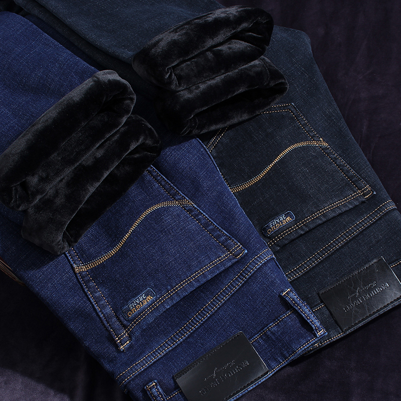 Winter Jeans Men Warm Men'S Black Classic Jean Homme Vaqueros Pantalones Hombre Pants Spijkerbroeken Slim Straight Designer