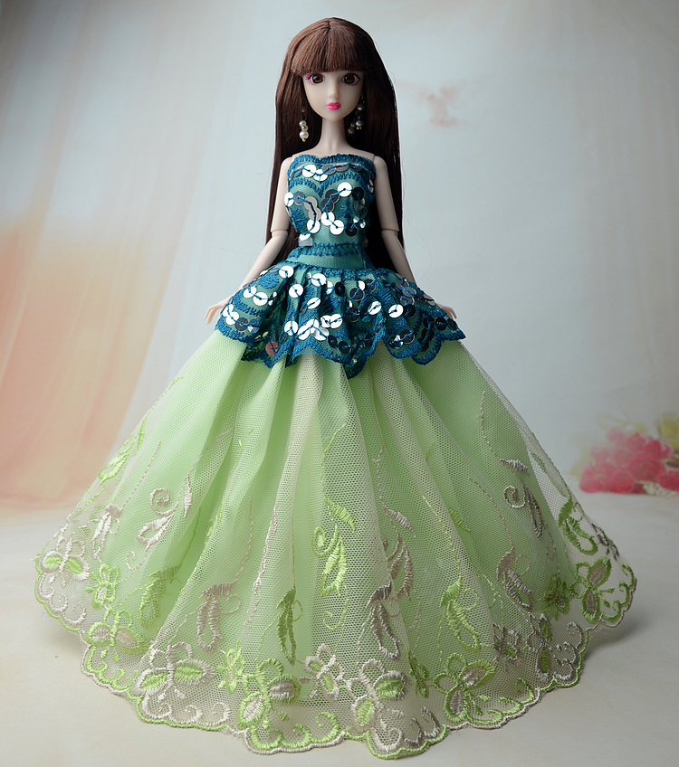 NK One Pcs 2018 Princess Wedding Dress Noble Party Gown For Barbie Doll Fashion Design Outfit Best Gift For Girl' Doll 011G hatber optimum barbie the pearl princess 20627